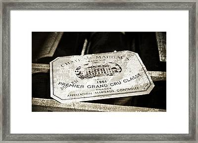 Great Wines Of Bordeaux - Chateau Margaux 1961 Framed Print