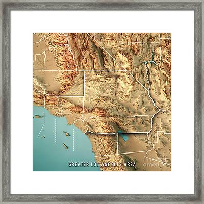 Greater Los Angeles Area Usa D Render Topographic Map Border - Los angeles topographic map
