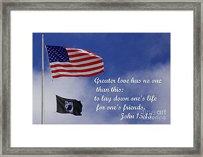 Greater Love American Flag Pow Mia Flag Art Framed Print