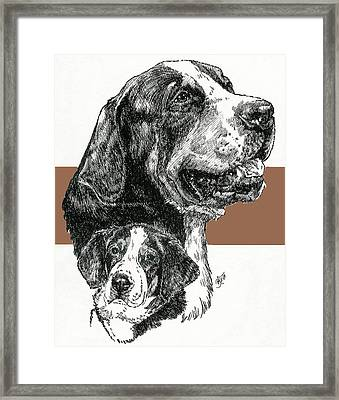 Greater Swiss Mountain Dog Father And Son Framed Print by Barbara Keith