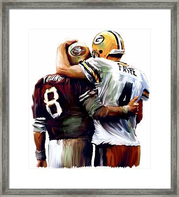 Greatness  Brett Favre And Steve Young  Framed Print by Iconic Images Art Gallery David Pucciarelli