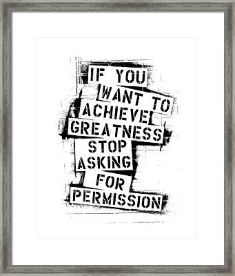 Greatness Stencil Framed Print by Melissa Smith