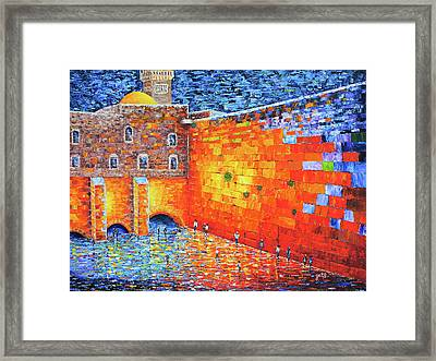Framed Print featuring the painting Wailing Wall Greatness In The Evening Jerusalem Palette Knife Painting by Georgeta Blanaru