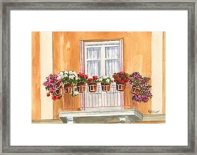 Grecian Balcony Framed Print