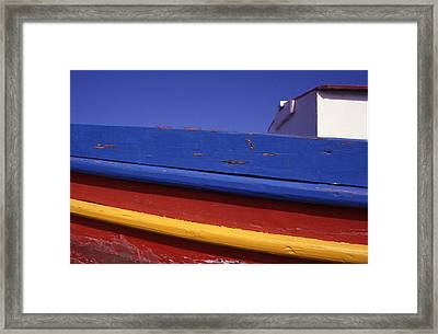 Greece. Colorful Fishing Boat Framed Print by Steve Outram