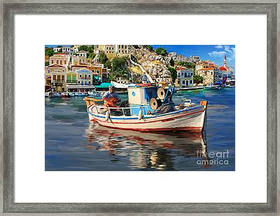 Greece Fisherman Framed Print by Tim Gilliland