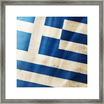 Greece Flag Framed Print