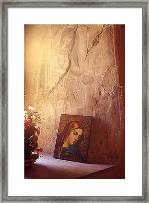 Greece. Lesvos. 16th Century Fresco And Virgin Mary Icon Framed Print by Steve Outram