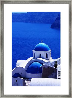 Greek Blue Vertical Framed Print by Paul Cowan