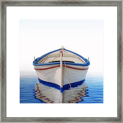 Greek Boat Framed Print by Horacio Cardozo