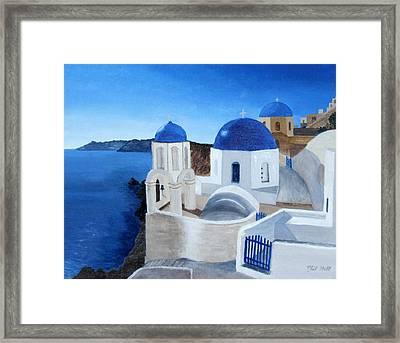 Greek Church At Santorini Framed Print by Philip Hall