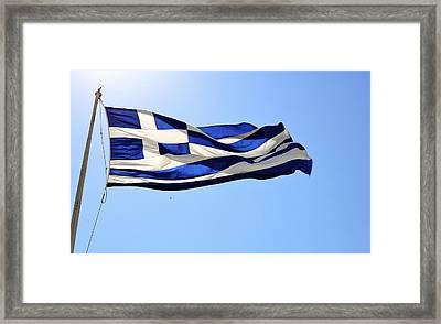 Greek Flag Framed Print by Corinne Rhode