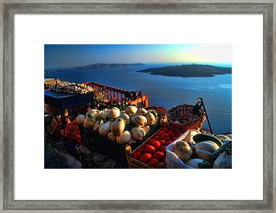 Greek Food At Santorini Framed Print
