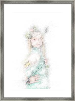 Greek Goddess In Green Framed Print by Humorous Quotes