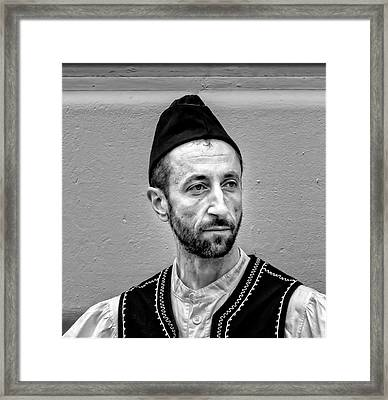 Greek Independence Day Nyc 2017 Man In Traditional Dress Framed Print by Robert Ullmann