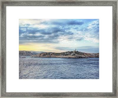 Greek Island Seascape Framed Print by Tom Gowanlock