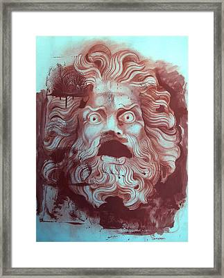Greek Mask Framed Print by Tom Durham