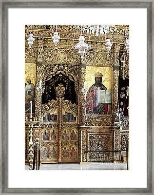 Greek Orthodox Alter Framed Print by John Rizzuto