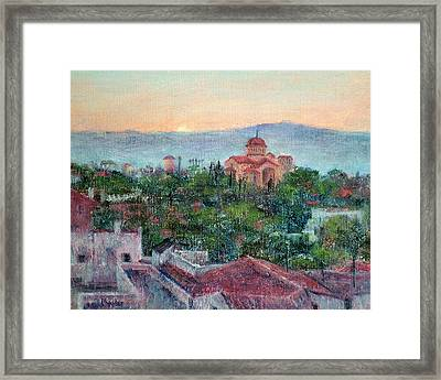 Greek Orthodox Sunset Framed Print by Jill Musser