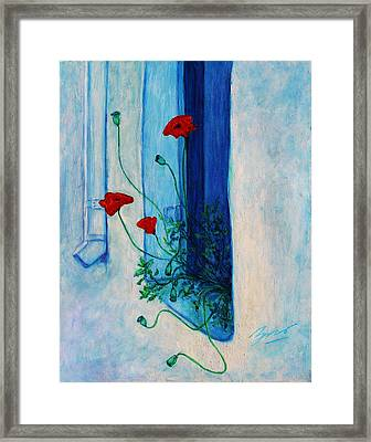 Framed Print featuring the painting Greek Poppies by Xueling Zou
