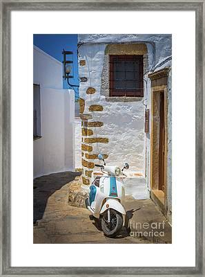 Greek Scooter Framed Print