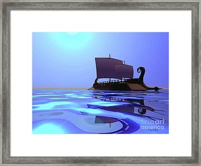 Greek Ship Framed Print by Corey Ford
