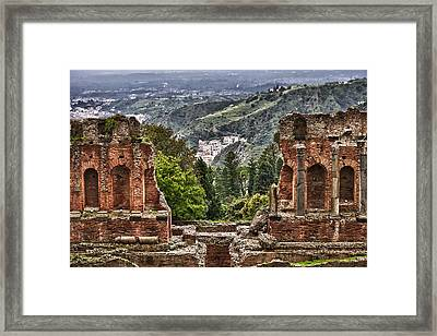 Greek Theater Framed Print by Janet Fikar