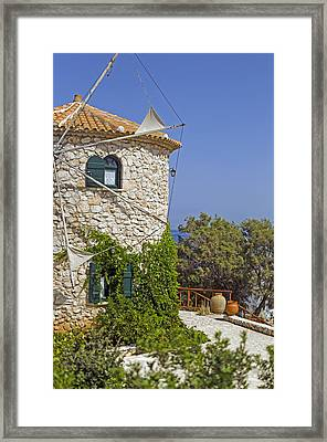 Greek Windmill Framed Print by Rainer Kersten