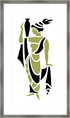 Greek Woman In Olive Framed Print by Donna Mibus