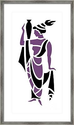 Greek Woman In Purple Framed Print by Donna Mibus