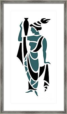 Greek Woman Holding Urn In Teal Framed Print by Donna Mibus