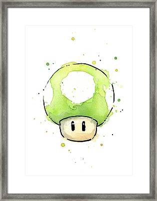 Green 1up Mushroom Framed Print by Olga Shvartsur