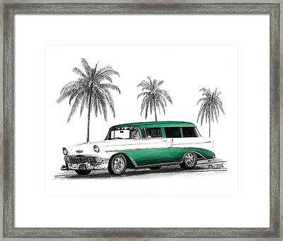 Green 56 Chevy Wagon Framed Print