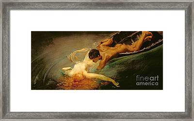 Green Abyss Framed Print by Giulio Aristide Sartorio