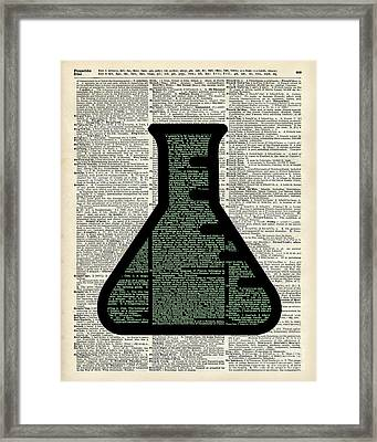 Green Alchemy Test Tube Dictionary Art Framed Print