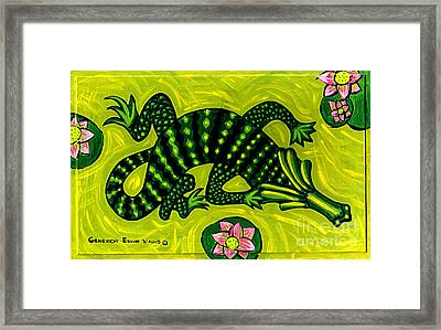 Green Alligator Framed Print by Genevieve Esson