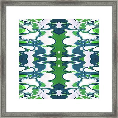 Green And Blue Swirl- Art By Linda Woods Framed Print
