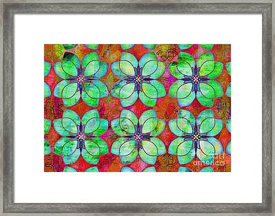 Green And Fuschia Floral Framed Print by Mylinda Revell