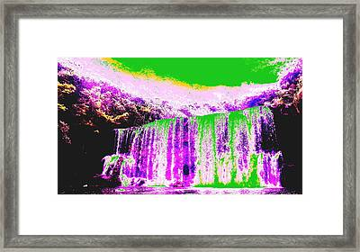 Green And Purple Waterfall Framed Print by Erika Swartzkopf