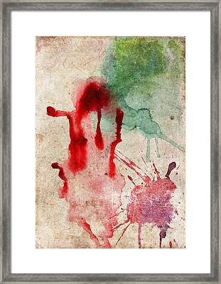 Green And Red Color Splash Framed Print