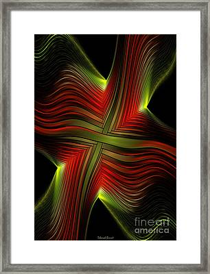 Green And Red Lines Framed Print by Deborah Benoit
