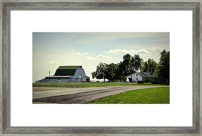 Green And White Farm Framed Print by Cricket Hackmann