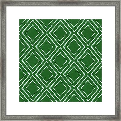 Green And White Inky Diamonds- Art By Linda Woods Framed Print