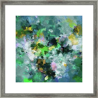 Green And Yellow Abstract Art Framed Print by Ayse Deniz