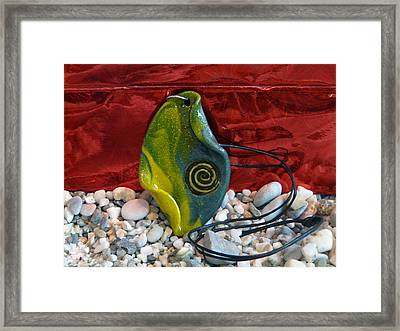 Green And Yellow Spiral Pendant Framed Print by Chara Giakoumaki