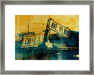 Green And Yellow Street Sign Framed Print