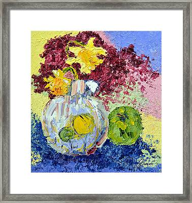 Green Apple And Daffodils Framed Print by Lynda Cookson