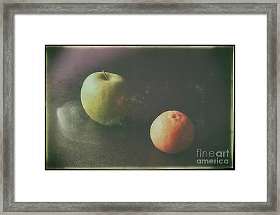 Green Apple And Tangerine Framed Print by Jimmy Ostgard