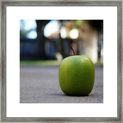 Green Apple- Photography By Linda Woods Framed Print