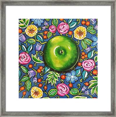 Green Apple Framed Print by Sandra Lett